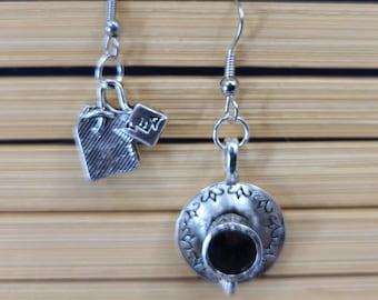 Asymmetric Whimsical Teabag and Teacup Earrings Magical Fire