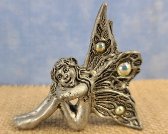 Pewter Sitting Fairy Magical Fire