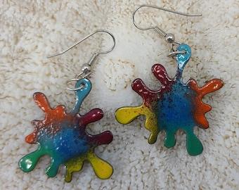 Cool Enamel Rainbow Paint Splat Earrings by Magical Fire