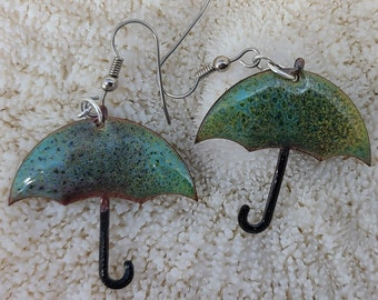 Green and Blue Umbrella Earrings by Magical Fire