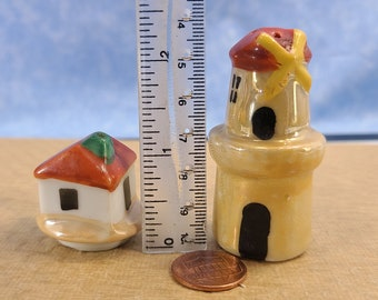 Vintage Blue Penguins Salt and Pepper Shakers Hand Painted Magical Fire