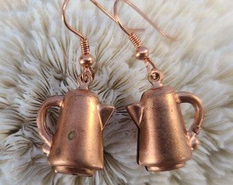 Unique Copper Coffee Pot Earrings Earrings Magical Fire