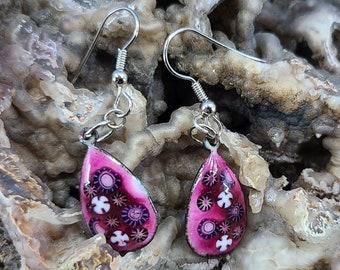 Flowered Teardrop Enamel Earrings Magical Fire
