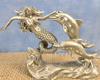 Pewter Mermaid and Dolphins Magical Fire