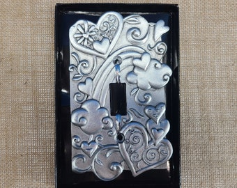 Ready to Paint or Bling Pewter Heart Light Switch Cover Magical Fire