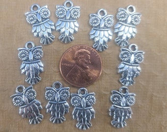 Lot of 10 Pewter 19mm x 11mm Owl Beads for Jewelry Making Magical Fire