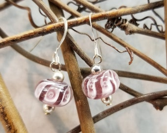 Purple Lampwork and Sterling Earrings Magical Fire