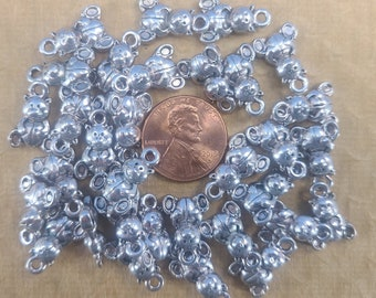 Lot of 20 Pewter 15.75mm x 10.5mm Teddy Bear Pendants for Jewelry Making Magical Fire