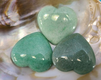 Aventurine Heart Worry Stone, Meditation, Chakra Magical Fire