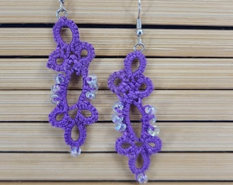 Handmade Purple Tatted Lace Earrings Magical Fire