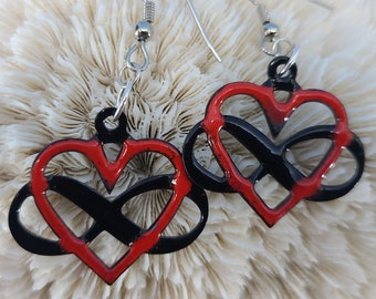 Handcrafted Enamel Infinity Heart Polyamory Symbol Earrings by Magical Fire