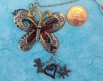 Enameled Butterfly Car Charm Magical Fire