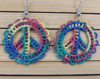 Rainbow Peace Sign Lace Earrings Magical Fire