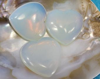 Opalite Heart Worry Stone, Meditation, Chakra Magical Fire