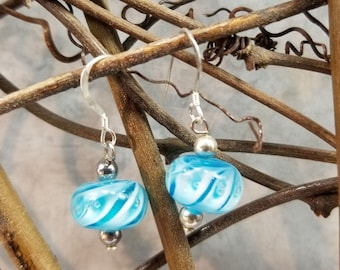 Blue Lampwork and Sterling Earrings Magical Fire