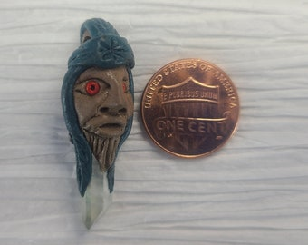 Cool Handmade Tree Spirit Pendant with Natural Quartz Crystal Magical Fire