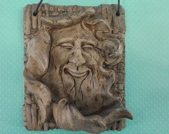 Gypsum Cement Green Man or Wise Man Plaque Magical Fire
