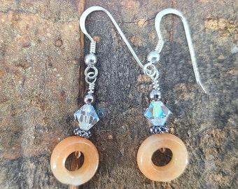 Sterling, Orange Aventurine and Swarovski Circle of Life Earrings Magical Fire