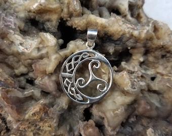 Sterling Celtic Moon Triskele Pendant Magical Fire