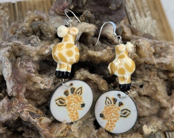 Giraffe Enamel and Lampwork Earrings by Magical Fire