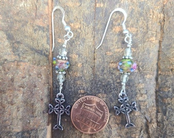 Sterling and Lampwork Celtic Cross Earrings Magical Fire