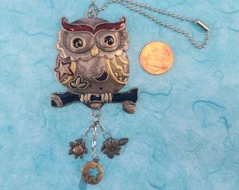 Enameled Owl Car Charm Magical Fire