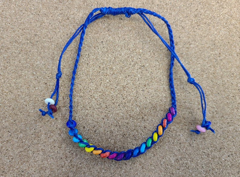 Rainbow Anklet in Blue Light Blue or Purple LGBTQIA Magical image 0