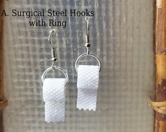 Whimsical  Beaded Toilet Paper Earrings by Magical Fire