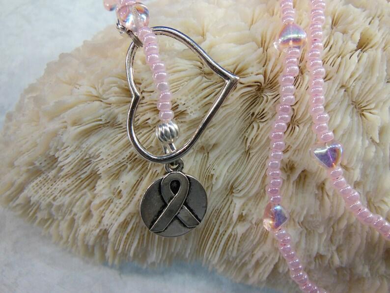 Cancer Awareness Ribbon Heart Lariat image 0