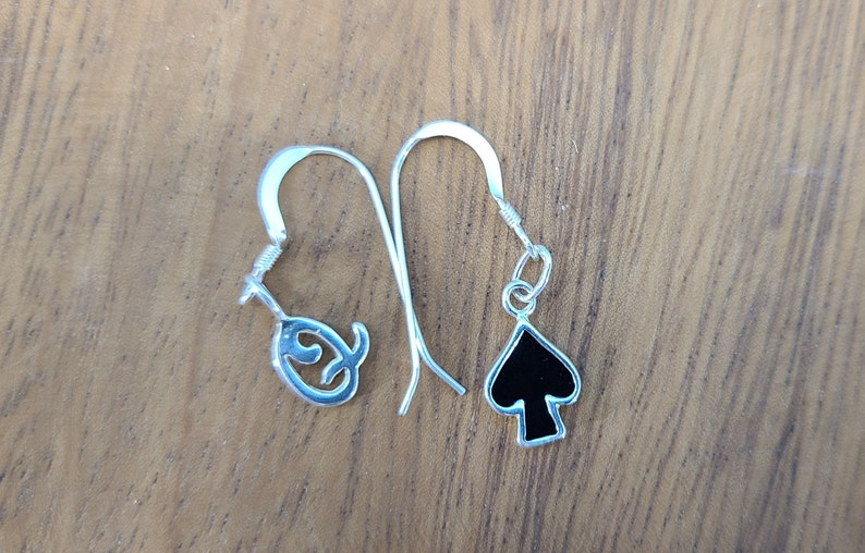 Queen of Spades Asymetric Sterling Silver Onyx Earrings image 0