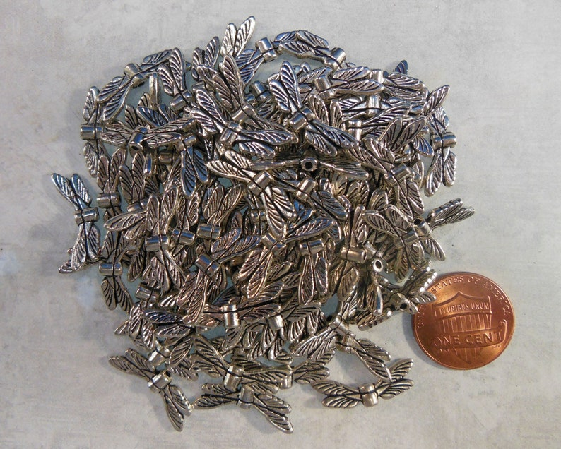 Lot of 30 Pewter Dragonfly Wings for Jewelry Making image 0