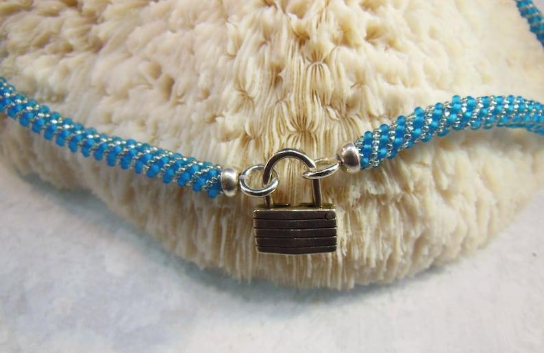 Russian Spiral Matte Capri Blue & Silver Discreet BDSM Collar image 0