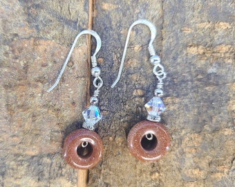 Sterling, Goldstone and Swarovski Circle of Life Earrings Magical Fire