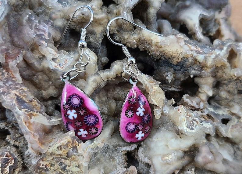 Flowered Teardrop Enamel Earrings Magical Fire image 0