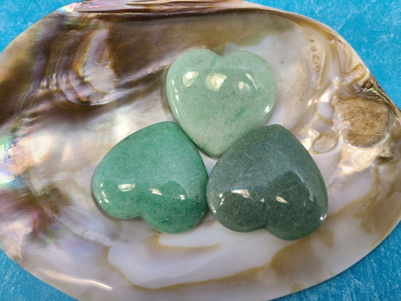 Aventurine Heart Worry Stone Meditation Chakra Magical Fire image 0