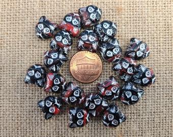 Lot of 20 Destash Czech Red and Black Kittie Face Beads