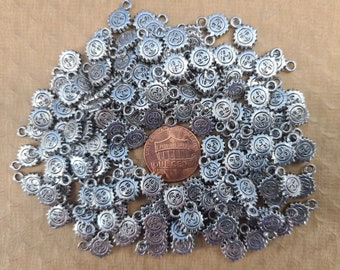 Lot of 151 Pewter 8mm Sun Beads for Jewelry Making Magical Fire
