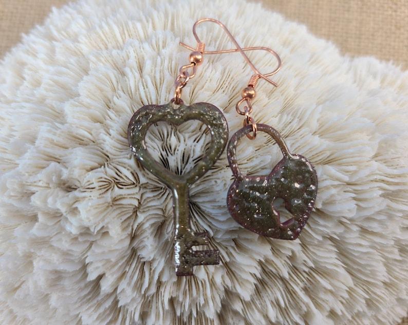 Enamel Heart Lock and Heart Key Asymmetric Earrings by Magical image 0