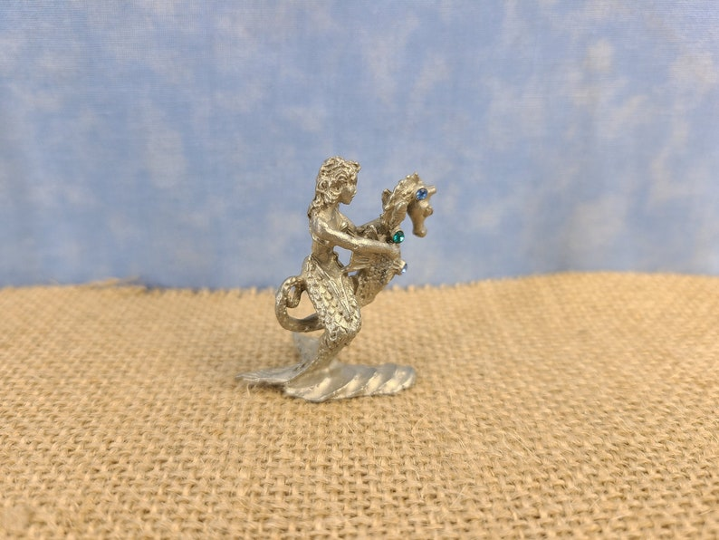 Pewter Equestrian Mermaid Astride Seahorse Magical Fire image 0