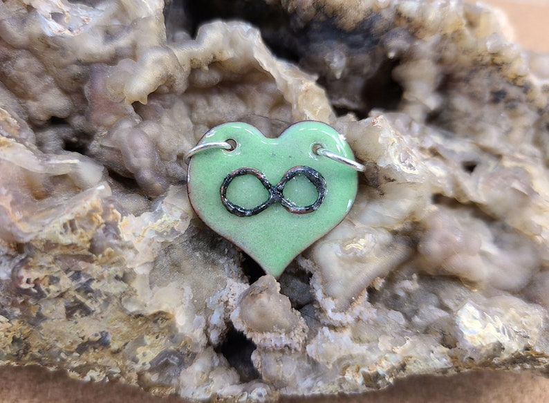 Green Polyamory Infinity Heart Pendant Necklace Handmade by image 0