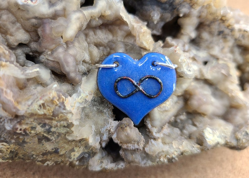 Blue Polyamory Infinity Heart Pendant Necklace Handmade by image 0