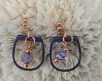 Purple and Copper Earrings by Magical Fire