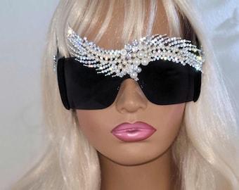 Monaco - Rhinestone & Pearl Designer Sunglasses