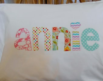 Personalized Pillowcase  ....  large letters....  Choose Your Fabrics .... Name across middle of  pillowcase