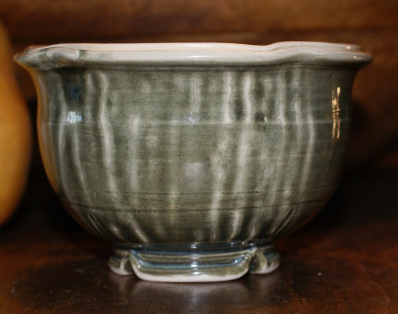 Small Ceramic Bowl  Dessert Bowl  Shades of Green  Double Rim