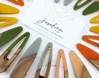 Teardrop Teak + Acrylic Hair Clip | Wood Barrette | Hair Accessory | Clips | JOSEFINAandCO | Josefina and Co | Josefina + Co