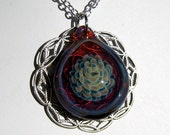 Lampwork Glass Flower Pendant - Raspberry