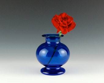 Cobalt Blue Bud Vase, Hand Blown Glass