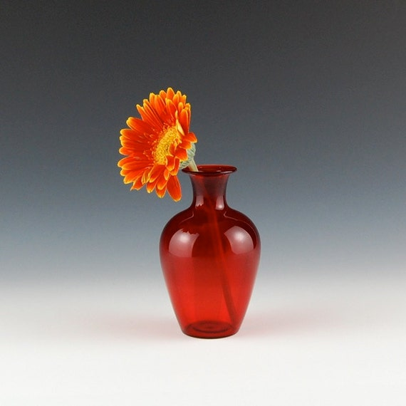 Red Bud Vase Hand Blown Glass Etsy