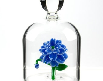 Glass Flower in a Jar - Blue